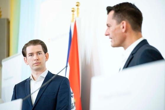 Bundeskanzler Sebastian Kurz (ÖVP), Gesundheitsminister Wolfgang Mückstein (Grüne).