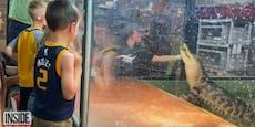 Vor Augen der Kinder: Alligator will Frau fressen
