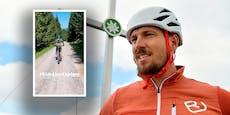 Krücken-Hirscher geht mit Gipsbein Mountainbiken