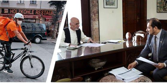 Sadaat als Essenslieferant, rechts im alten Job mit Ex-PräsidentAshraf Ghani