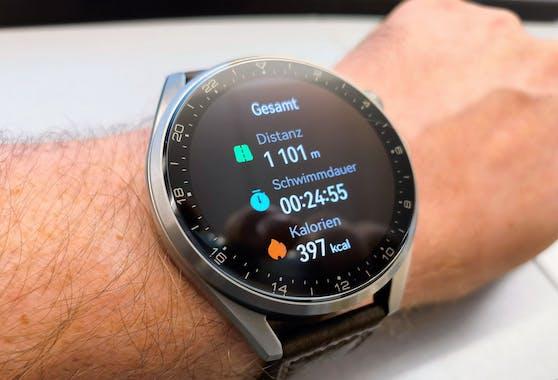 Macht auch im Wasser gute Figur: Eine Schwimm-Aufzeichnung mit der Huawei Watch 3 Pro.