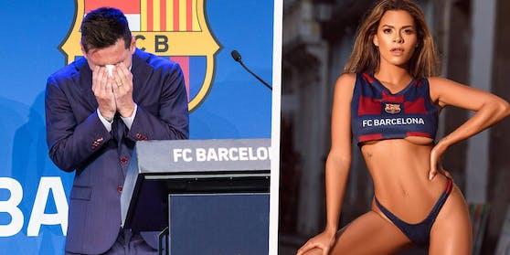 Lionel Messi weint beim Barca-Abschied. Playboy-Model Luana Sandien im Klub-Outfit.