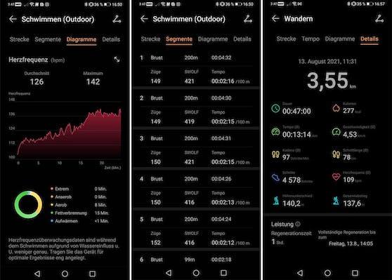 Die Huawei Health App liefert viele zusätzliche Daten zur aufgezeichneten Sportart.