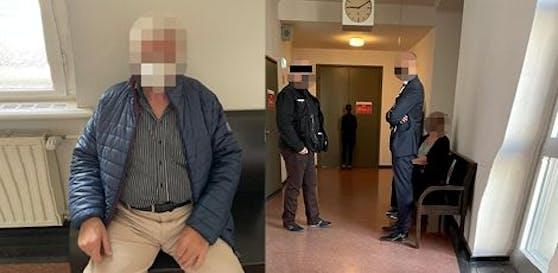 Opfer (l.) und Angeklagter mit Anwalt