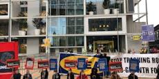Demo bei Ikea-Eröffnung am Westbahnhof