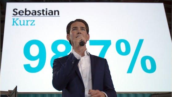 Der damalige Außenminister Sebastian Kurz erhielt am letzten Bundesparteitag 2017 98,7 Prozent