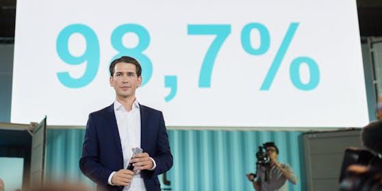 98,7 Prozent waren beim letzten Bundesparteitag 2017 für Sebastian Kurz.