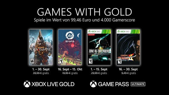 Games with Gold: Diese Spiele gibt es im September gratis.