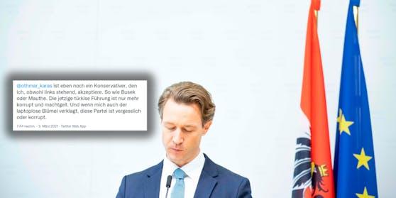 Dieser Tweet stieß Finanzminister Gernot Blümel sauer auf.