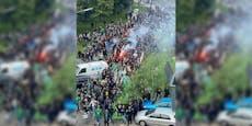 Rapid-Fanmarsch in Favoriten hält Polizei in Atem