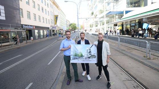Die Wiener Grünen wollen das Gebiet um den neuen City-Ikea am Westbahnhof zur Begegnungszone machen. Von links nach rechts: Mobilitätssprecher Kilian Stark, Klimastadtrat Peter Kraus und Cathy Schneider, Klubobfrau der Grünen in Fünfhaus.