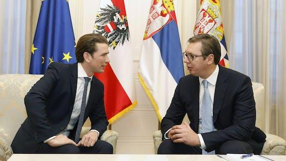 Kanzler Kurz mit Serbien Präsident bei einem früheren Treffen.