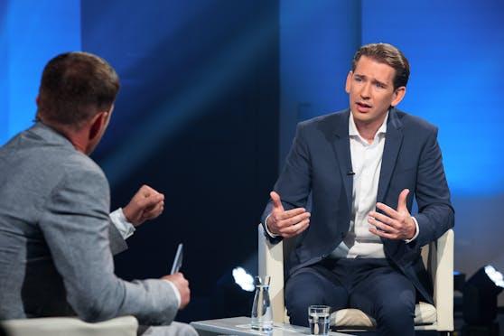 Bundeskanzler Sebastian Kurz im Servus-TV-Talk mit Michael Fleischhacker