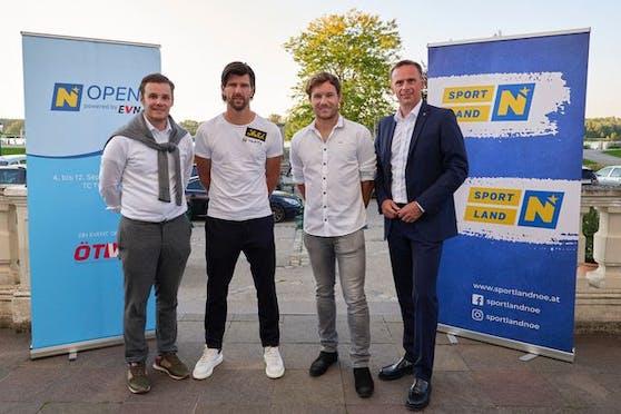 Landesrat Jochen Danninger, Lucas Miedler, Jürgen Melzer und Turnierdirektor Florian Leitgeb.