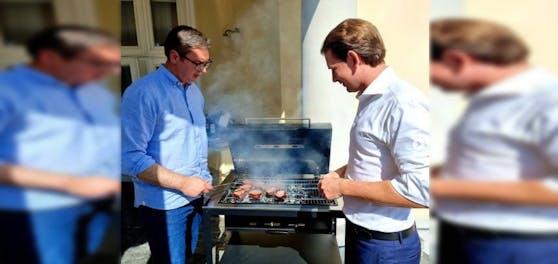 Aleksandar Vučić schmiss für Sebastian Kurz den Griller an.