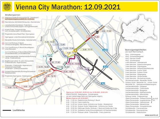 Diese Straßen werden für den Vienna City Marathon am Sonntag gesperrt.
