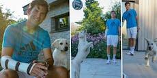 Süß! Thiem trainiert mit seinem neuen Hund