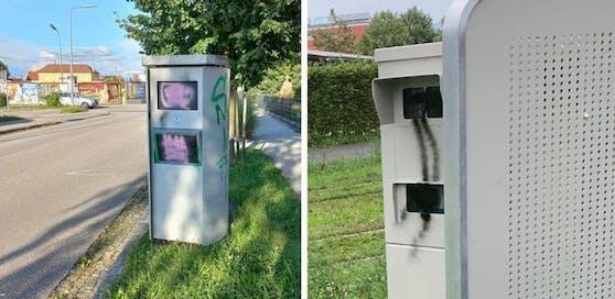 Zwei Radarboxen wurden im Großraum Linz von Vandalen beschmiert.