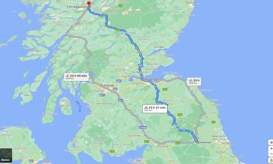 Hier sieht man Dotchkins Reiseroute.