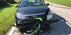 Biker (25) schlitterte unter Pkw - per Heli ins Spital