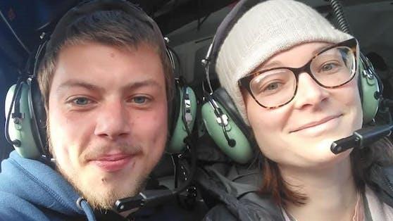 Gemma Malins und ihre Ehemann Brandon bei einem Helikopterflug - einer von Gemmas letzten Wünschen.