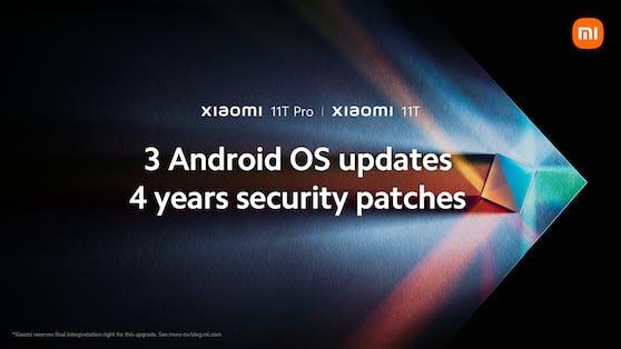 Xiaomi bietet 3 Android System-Upgrades und 4 Jahre Sicherheitspatches für die Xiaomi 11T Serie an.