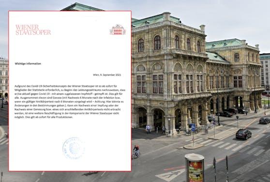 Die Wiener Staatsoper schickte an Rundschreiben an Komparsen aus.