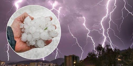 Ein Hagel-Gewitter zieht über Österreich.