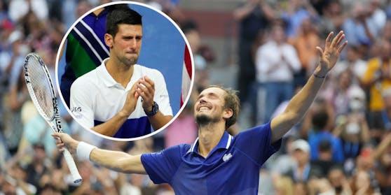 Daniil Medwedew triumphiert, Novak Djokovic weint.