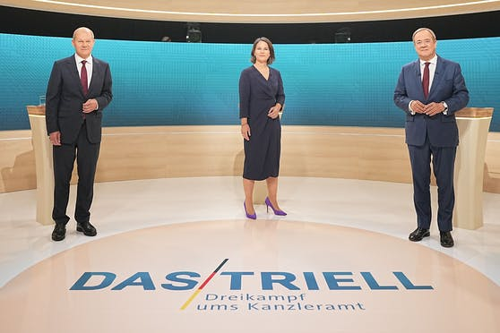 Olaf Scholz von der SPD, Annalena Baerbock von den Grünen und Armin Laschet von der CDU standen sich am Sonntagabend im deutschen Fernsehen gegenüber.