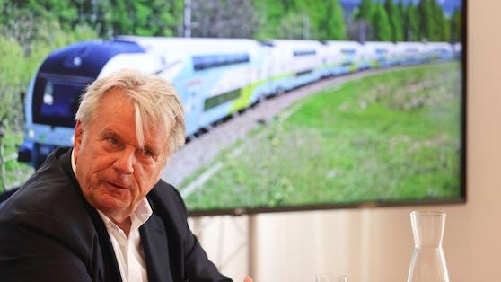 """Hans Peter Haselsteiner, Mehrheitseigentümer der Westbahn möchte""""in drei bis fünf Jahren"""" von Wien bis nach Zürich reisen."""