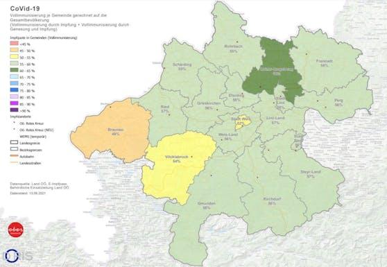 Die Grafik zeigt, wie die Impfquote in den einzelnen Bezirken in OÖ liegt.