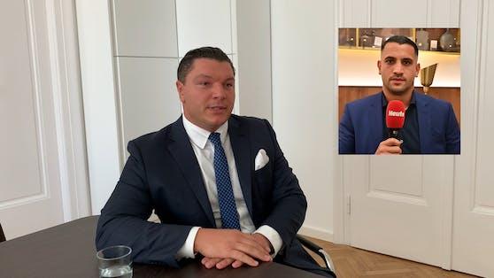 """""""Bündnis Kinderschutz""""-Präsident Roberto d'Atri (l.) wird von IBF-Champion Marcos Nader unterstützt."""