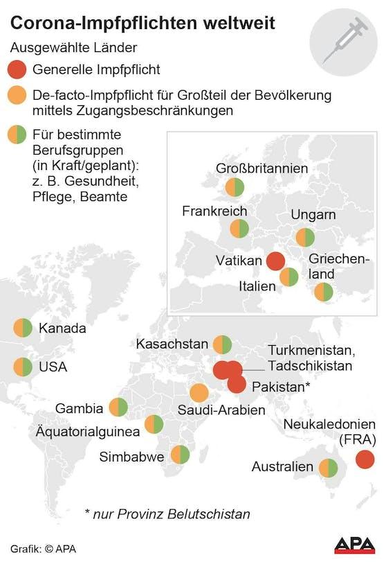 Diese Karte zeigt Länder, in denen es eine generelle, indirekte oder eine für bestimmte Berufsgruppen Impfpflicht gibt.