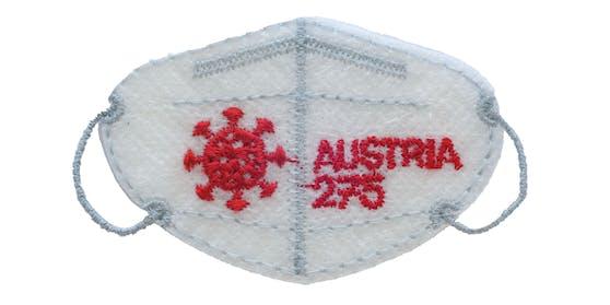 So sieht die Mini-FFP2-Maske aus. Sie hat einen Nennwert von 2,75 Euro, kann wie herkömmliche Briefmarken zur Frankierung von Briefen verwendet werden und ist ab 16. September erhältlich.