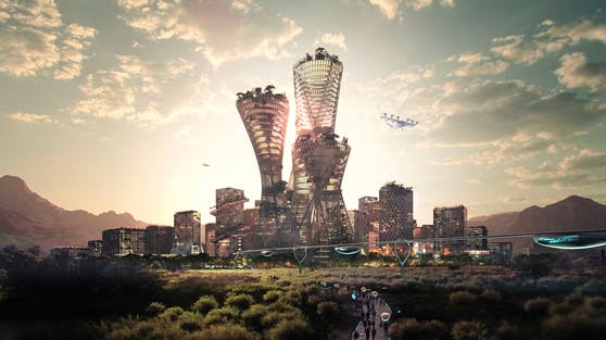Die Visualisierung von Telosa ist futuristisch, zeigt Drohnen und Schwebebahnen. Hier sollen in 40 Jahren fünf Millionen Amerikaner wohnen.