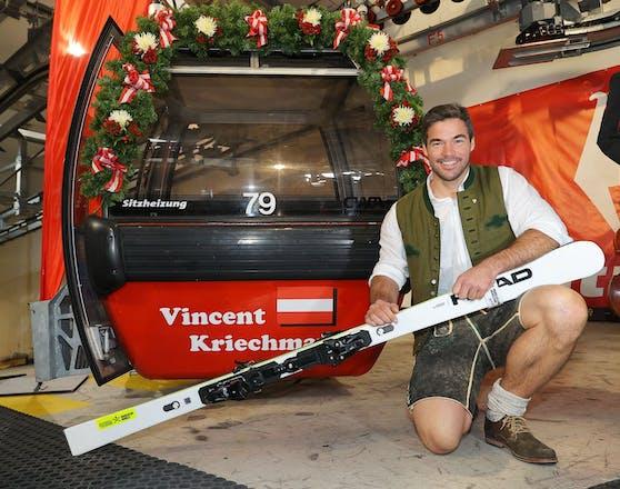 Vincent Kriechmayr erhielt seine eigene Kitz-Gondel.
