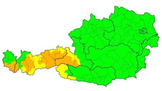 Der Sonntagabend wird nur in Vorarlberg und Tirol ungemütlich.