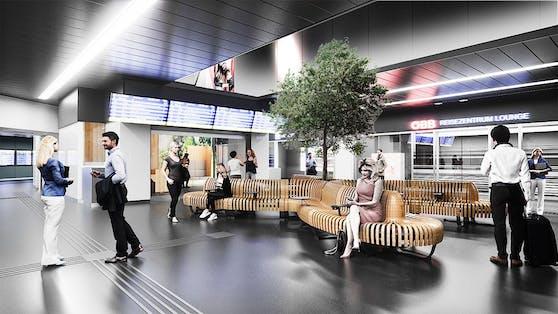 Visualisierung des neuen Wartebereichs am Bahnhof Meidling