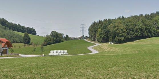 Die kurvenreiche Riedlstraße in Bad Vigaun von der Langgasse aus gesehen.