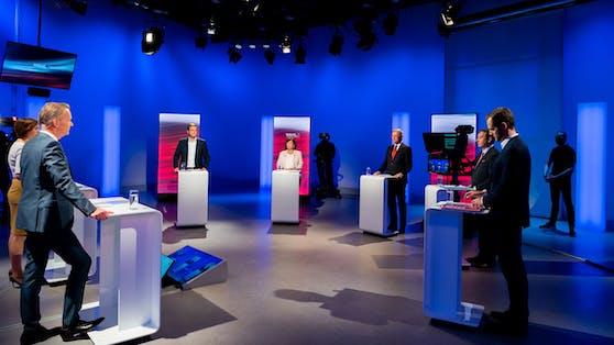 Die Spitzenkandidaten bei der Diskussion im ORF