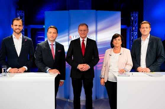 Die Spitzenkandidaten (v.li.): Eypeltauer, Haimbuchner, Stelzer, Gerstorfer, Kaineder