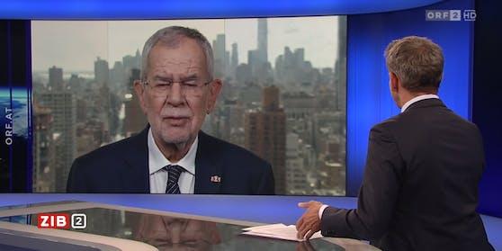 Bundespräsident Alexander Van der Bellen war Martin Thür per Video aus New York zugeschalten.