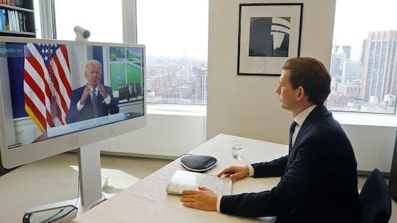 Bundeskanzler Sebastian Kurz nahm an einer Videokonferenz mit Präsident Joe Biden teil.