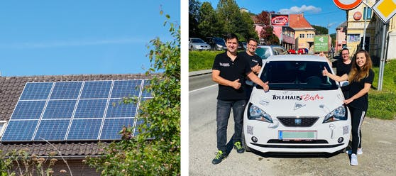 Ort erlaubt Wirt (r.) mit E-Auto keine Solaranlage.