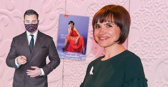 ORF-Journalistin Mari Lang (re.) stellt Männern Frauenfragen. Andreas Gabalier (li.) würde sie gerne vors Mikro holen, aber er will nicht.