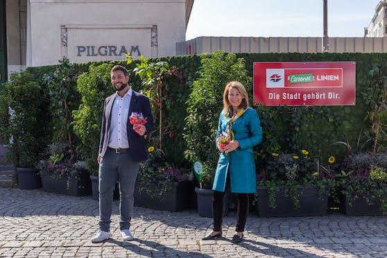 Es grünt so grün: Mariahilf-Bezirksvorsteher Markus Rumelhart und Wiener Linien-Geschäftsführerin Alexandra Reinagl