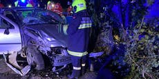 Lenker (19) rammte Betonsockel - zwei Schwerverletzte