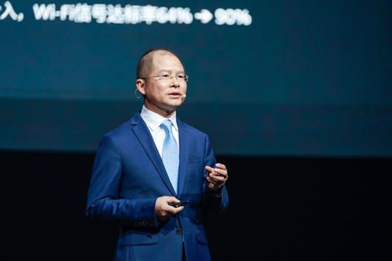 Eric Xu, rotierender Vorsitzender von Huawei, hält seine Keynote-Rede auf der Huawei Connect 2021.
