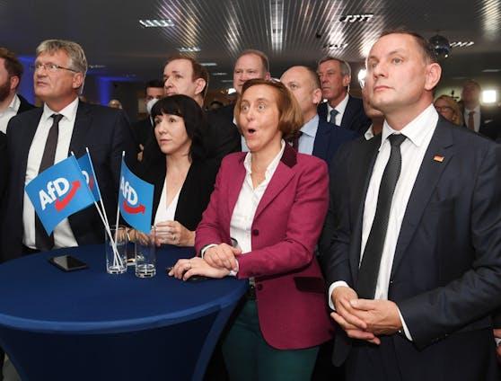 Beatrix von Storch, Spitzenkandidatin in Berlin, kann das Ergebnis kaum fassen.